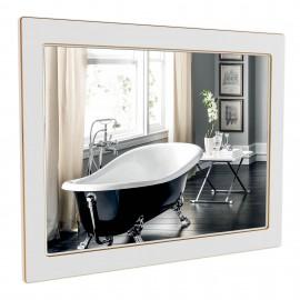 Зеркало Аква Родос Беатриче 80 см белый патина золото