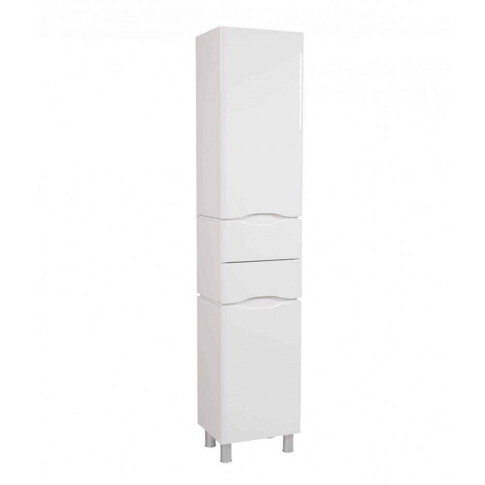 Пенал Венеция напольный 40 см Белый c корзиной для белья (правый)